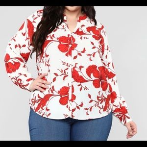 Red White Floral Button Down Blouse